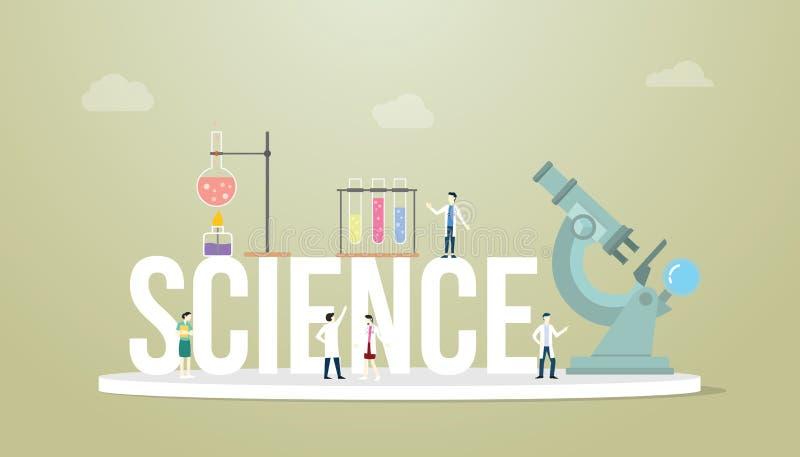 Concepto de las palabras de la ciencia con las herramientas del laboratorio del doctor de la gente del equipo con el microscopio  ilustración del vector