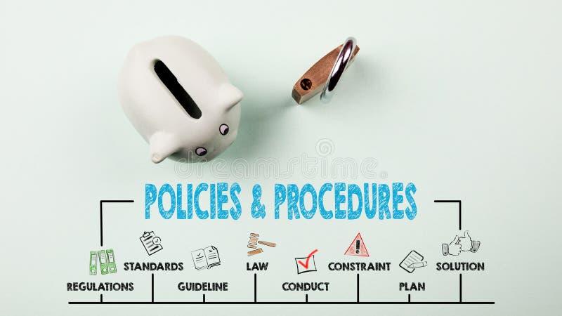 Concepto de las pol?ticas y de los procedimientos Carta con palabras claves e iconos foto de archivo