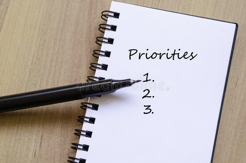 Concepto de las prioridades foto de archivo