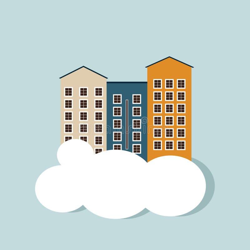 Concepto 6 de las propiedades inmobiliarias Apartamentos para la venta/el alquiler ilustración del vector