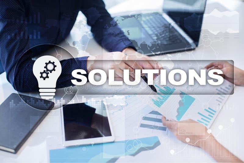 Concepto de las soluciones del negocio en la pantalla virtual fotos de archivo