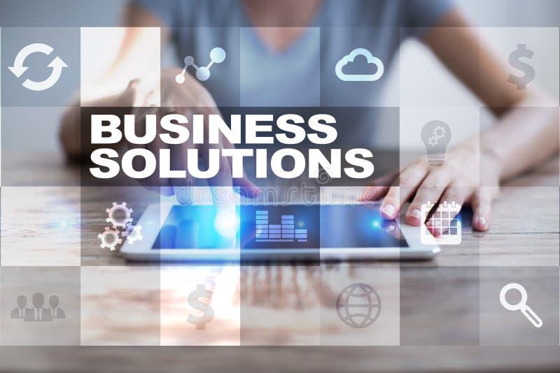 Concepto de las soluciones del negocio en la pantalla virtual fotos de archivo libres de regalías
