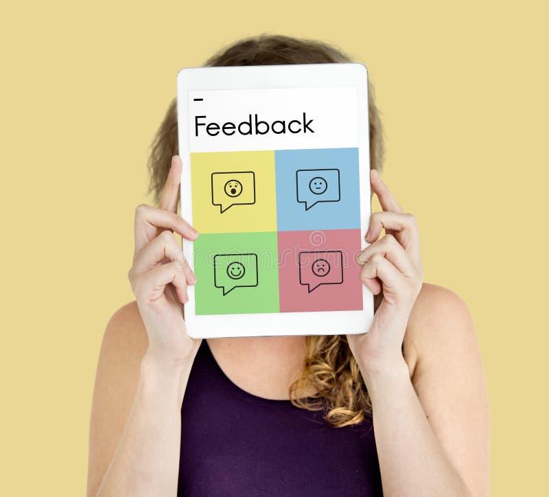 Concepto de las sugerencias del consejo de la respuesta de la encuesta sobre la reacción imagen de archivo