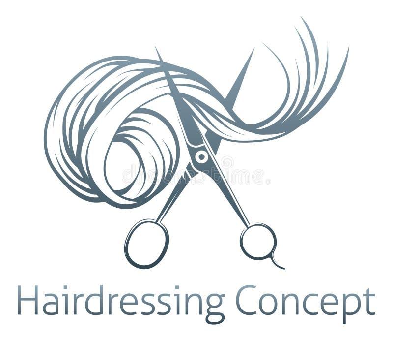 Concepto de las tijeras de los peluqueros stock de ilustración