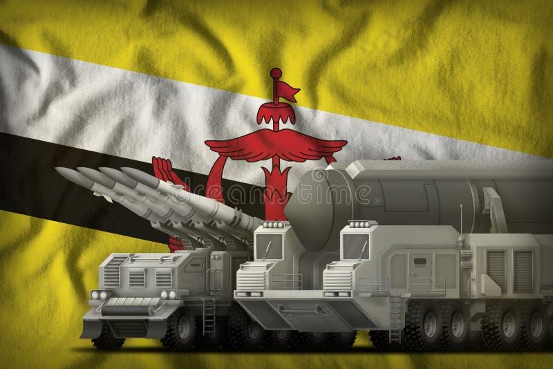 Concepto de las tropas del cohete de Brunei Darussalam en el fondo de la bandera nacional ilustración 3D ilustración del vector