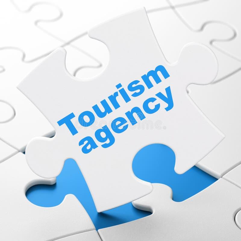 Concepto de las vacaciones: Agencia del turismo en fondo del rompecabezas libre illustration
