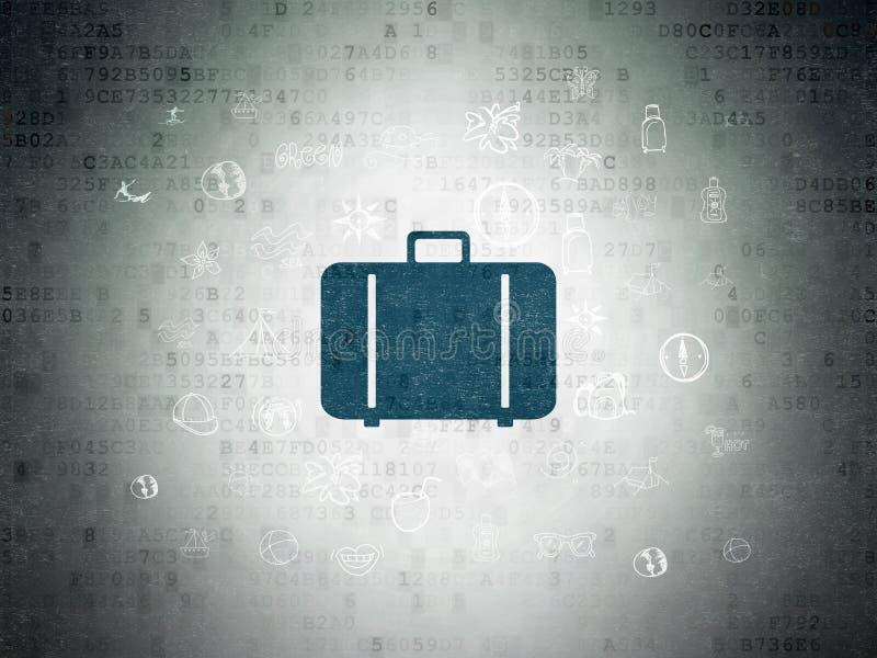 Concepto de las vacaciones: Bolso en fondo del papel de datos de Digitaces stock de ilustración
