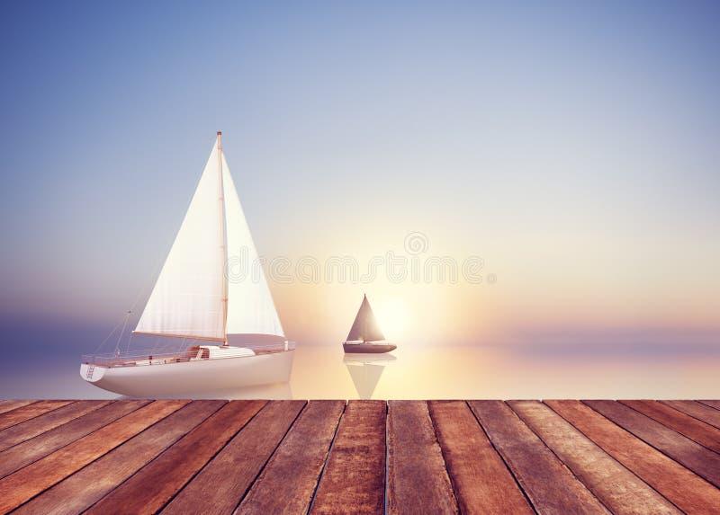 Concepto de las vacaciones del ocio de la libertad del viaje del verano de la vela del velero libre illustration