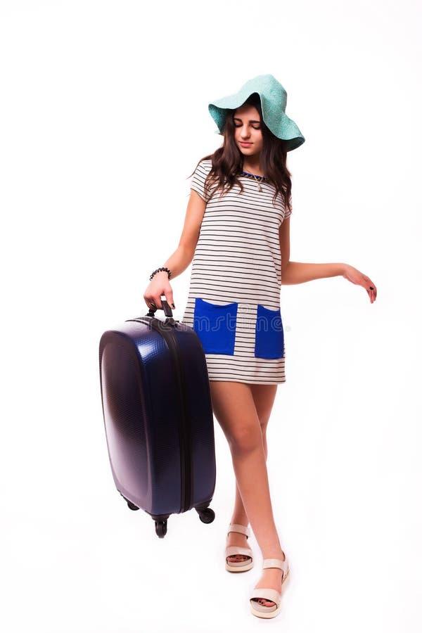 Concepto de las vacaciones del viaje con equipaje en blanco imagenes de archivo