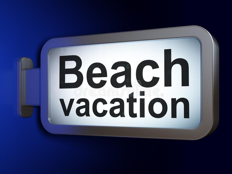 Concepto de las vacaciones: Vacaciones de la playa en fondo de la cartelera libre illustration