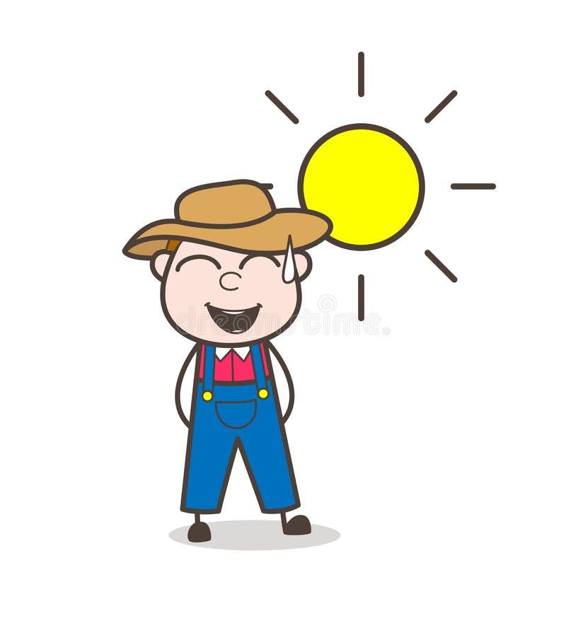 Concepto de Laughing Loudly Vector del granjero de la historieta libre illustration