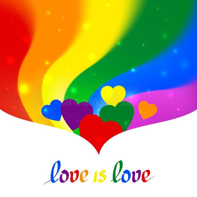 Concepto de LGBT - la forma del coraz?n en colores de la bandera del lgbtq del orgullo con el amor del texto es amor fondo ondula ilustración del vector