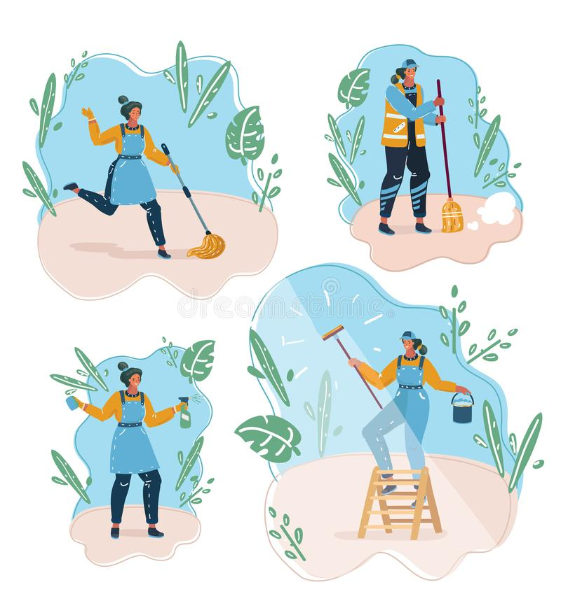 Concepto de limpieza de la compañía del sttaff stock de ilustración