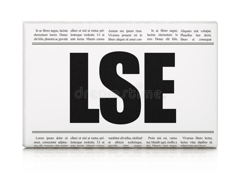 Concepto de los índices del mercado de acción: título de periódico LSE ilustración del vector