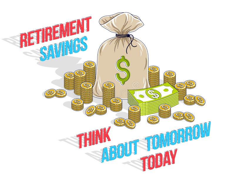 Concepto de los ahorros del retiro, bolso grande del dinero con el dólar del dinero del efectivo stock de ilustración