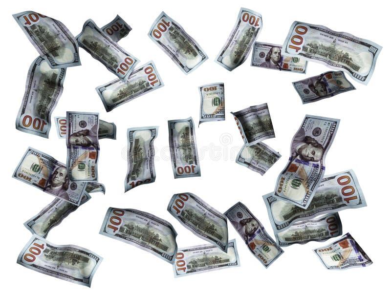 Concepto de los billetes de dólar que baja en el piso blanco 3d para no rendir en el fondo blanco ninguna sombra ilustración del vector