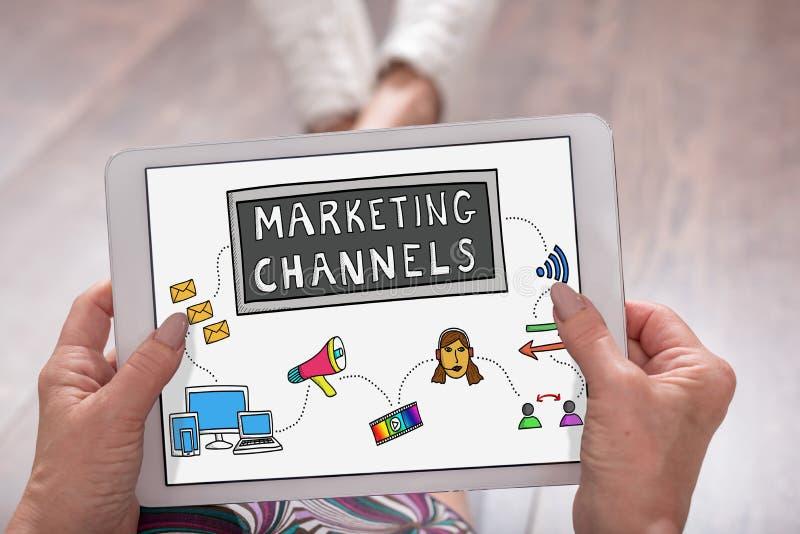 Concepto de los canales de márketing en una tableta fotografía de archivo