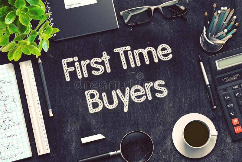 Concepto de los compradores de la primera vez en la pizarra negra representación 3d imagen de archivo libre de regalías