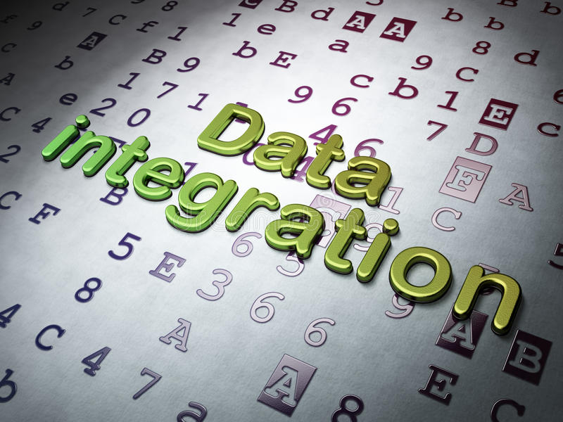 Concepto de los datos:  Integración de datos en fondo hexadecimal del código foto de archivo libre de regalías