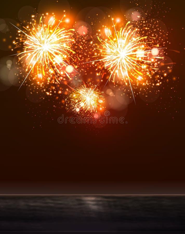 Concepto de los fuegos artificiales del cielo 2015 y del mar de la Feliz Año Nuevo, editable fácil stock de ilustración