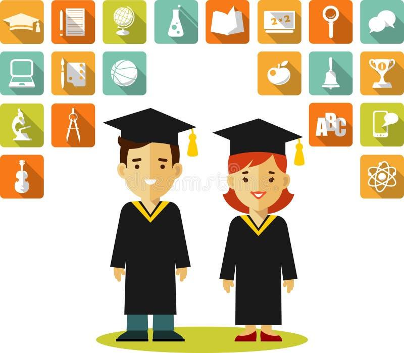 Concepto de los graduados con la gente y los iconos de la educación stock de ilustración