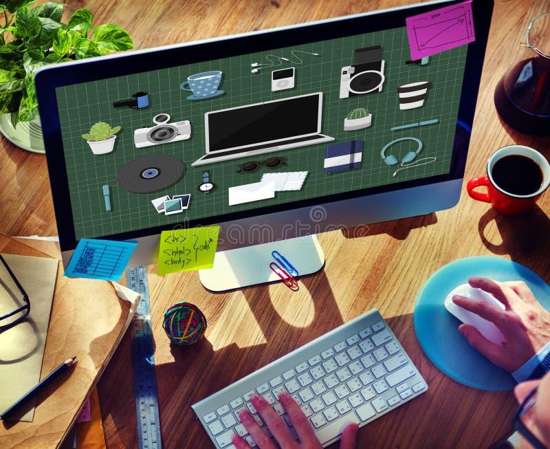 Concepto de los iconos del artilugio de la tecnología medios ilustración del vector