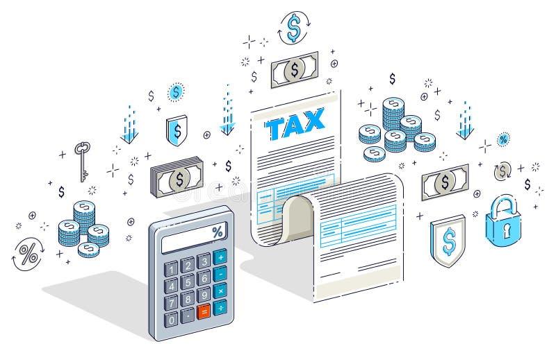 Concepto de los impuestos, forma de impuesto o documento jurídico de la hoja del papel con el Ca ilustración del vector