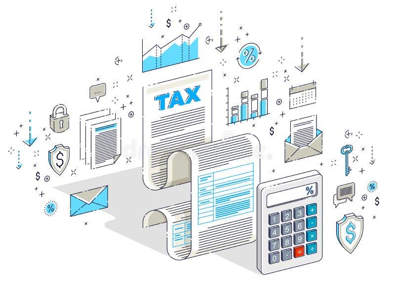 Concepto de los impuestos, forma de impuesto o documento jur?dico de la hoja del papel con la calculadora aislada en blanco Finan ilustración del vector