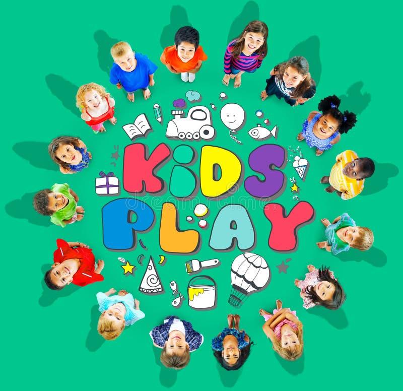 Concepto de los juegos del ocio de las aficiones de la imaginación del juego de los niños ilustración del vector