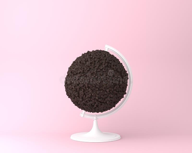 Concepto de los microprocesadores de chocolate del orbe de la esfera del globo en backgrou del rosa en colores pastel imágenes de archivo libres de regalías