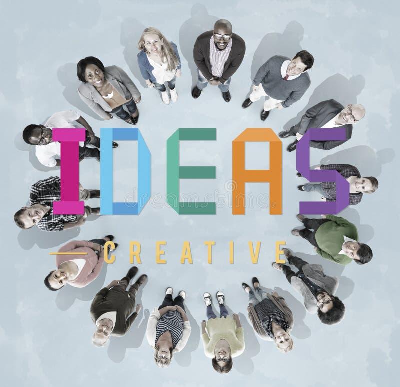 Concepto de los pensamientos de la estrategia de Vision del diseño de plan de las ideas ilustración del vector