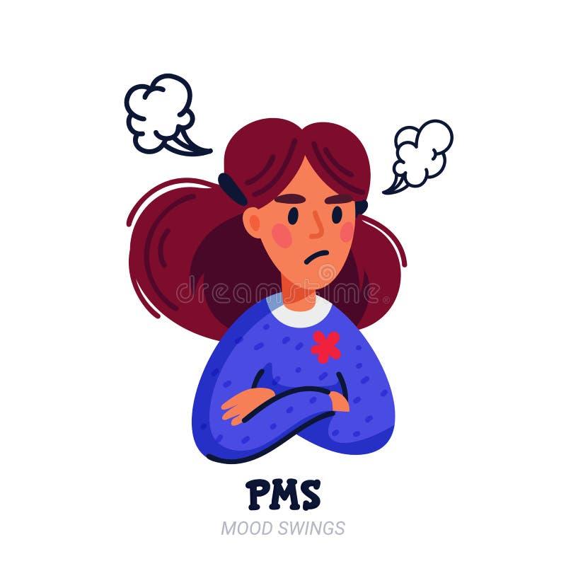 concepto de los pms Sufrimiento de la mujer del síndrome premenstrual y productos relacionados tales como cojines sanitarios y ta ilustración del vector