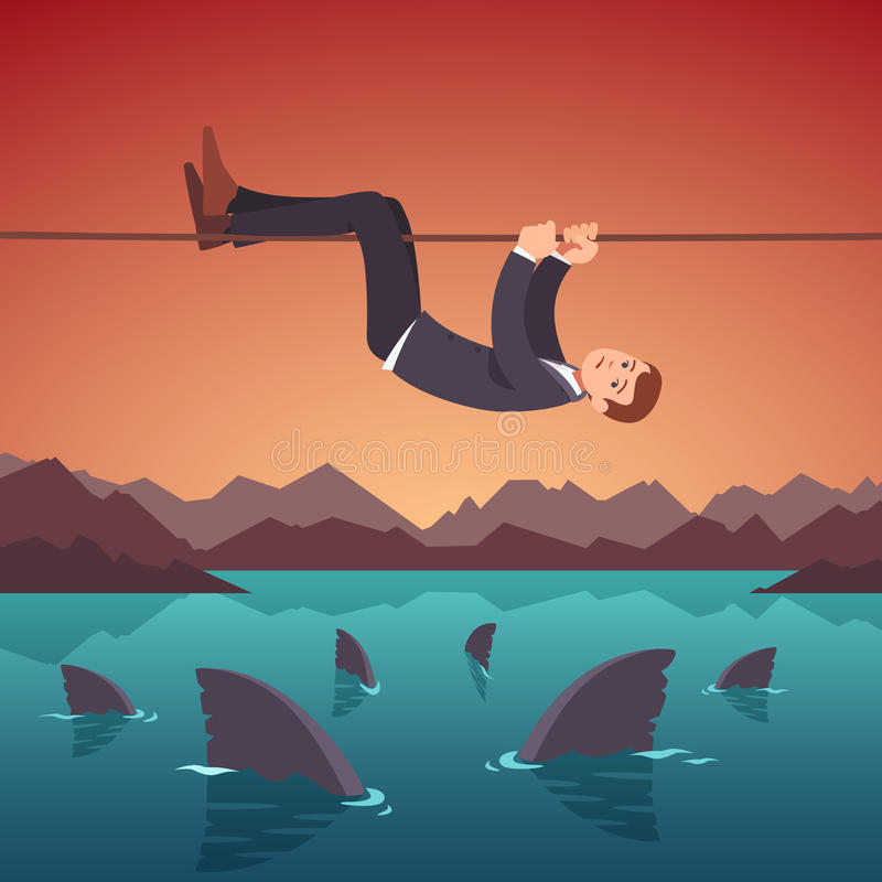 Concepto de los riesgos y de las dificultades de negocio ilustración del vector