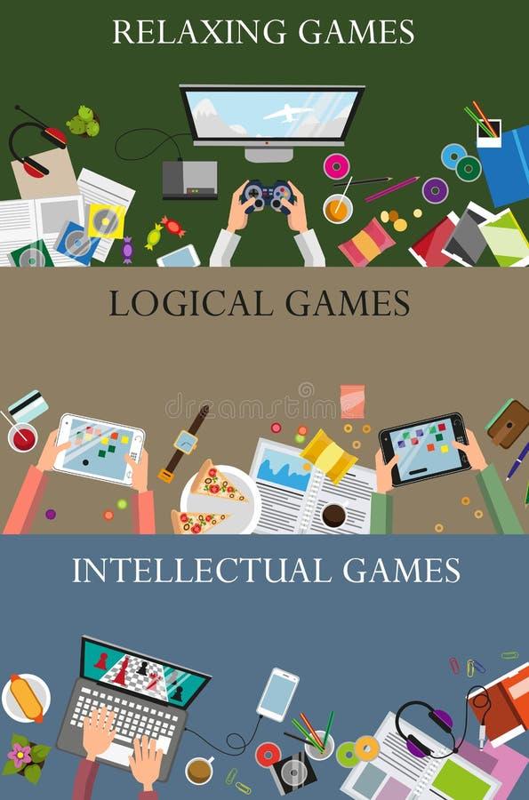 Concepto de los videojuegos ilustración del vector