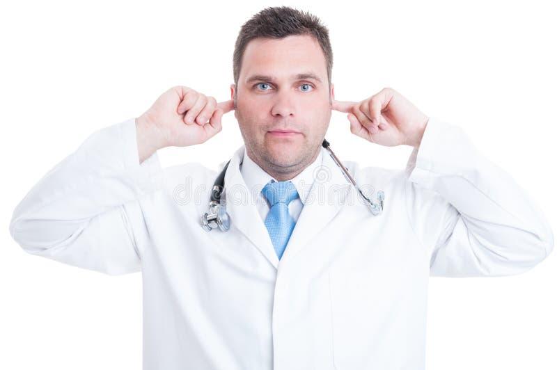 Concepto de médico o de doctor de sexo masculino que hace gesto sordo fotografía de archivo