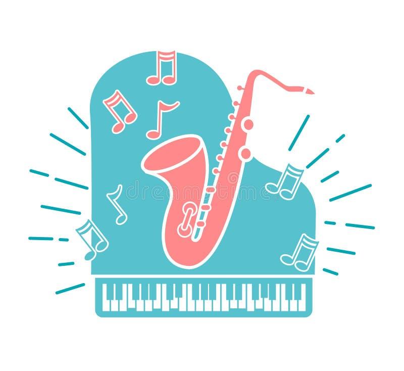 Concepto de música de jazz stock de ilustración