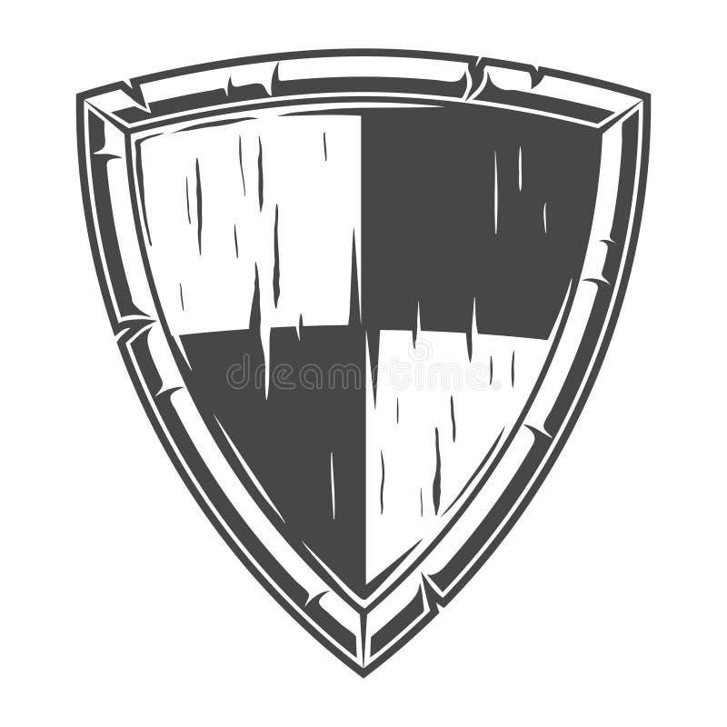 Concepto de madera del escudo del caballero monocromático stock de ilustración