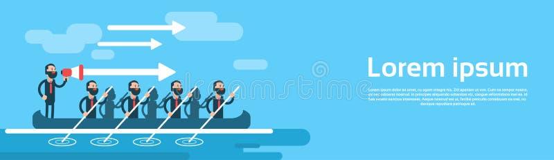 Concepto de Man Group Team In Boat Teamwork Leadership del negocio stock de ilustración