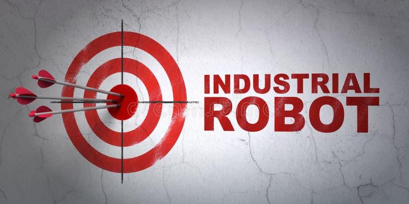 Concepto de Manufacuring: blanco y robot industrial en fondo de la pared ilustración del vector