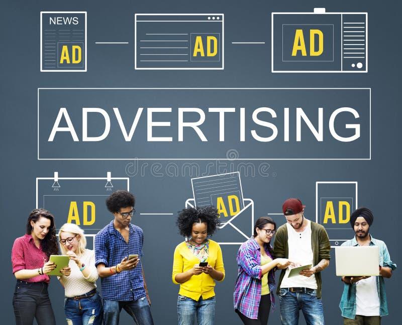 Concepto de marcado en caliente de Digitaces del márketing comercial de Advertisting fotos de archivo