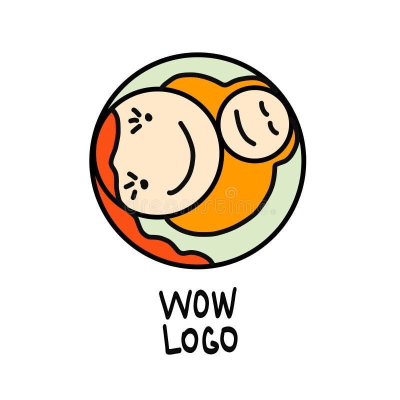 Concepto de maternidad - mujer feliz con recién nacido Plantilla del diseño del logotipo del vector en el estilo linear para su d libre illustration