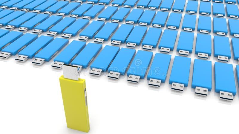 Concepto de memorias USB azules y amarillas del usb en blanco stock de ilustración