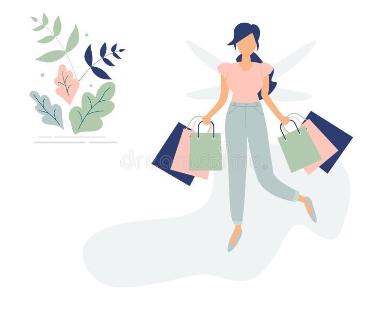 Concepto de moda de compras: muchacha bajo la forma de libélula o mariposa con las alas y las bolsas de papel de la tienda Figura ilustración del vector