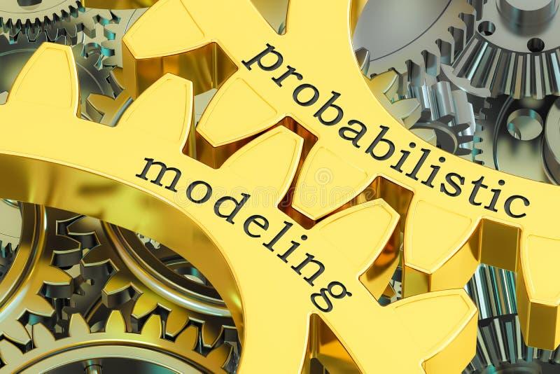 Concepto de modelado de probabilidad en las ruedas dentadas, representación 3D stock de ilustración