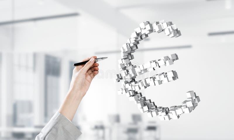 Concepto de moneda euro presentado por la mosca del símbolo en aire Técnicas mixtas libre illustration