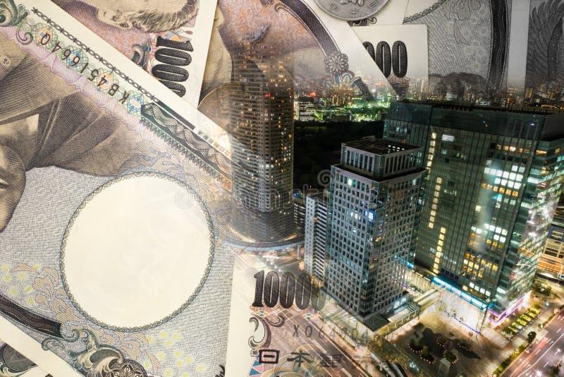 Concepto de moneda japonesa en la ciudad de Tokio fotos de archivo