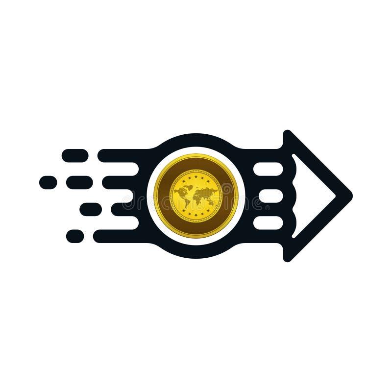 Concepto de moneda de oro del remitente al receptor ilustración del vector