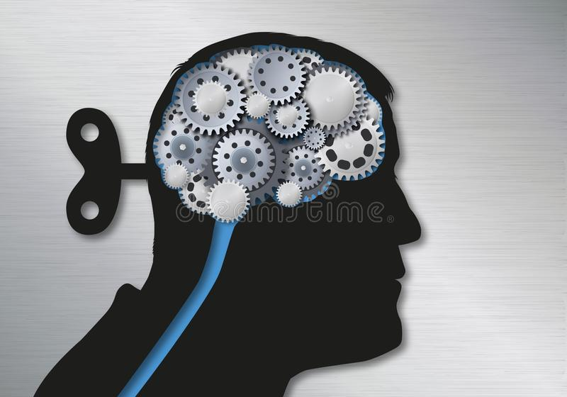 Concepto de noticias falsas y de manipulación simbolizadas por una cabeza humana con una llave en la parte posterior del cráneo q stock de ilustración