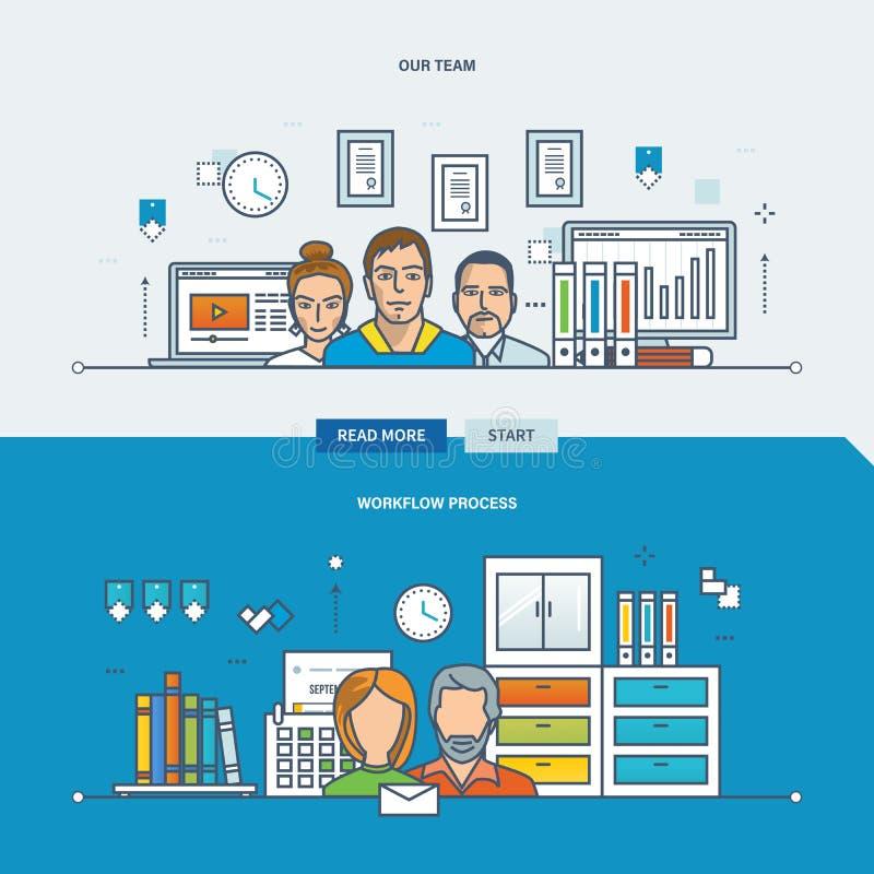 Concepto de nuestro equipo, proceso del flujo de trabajo, trabajo en equipo stock de ilustración