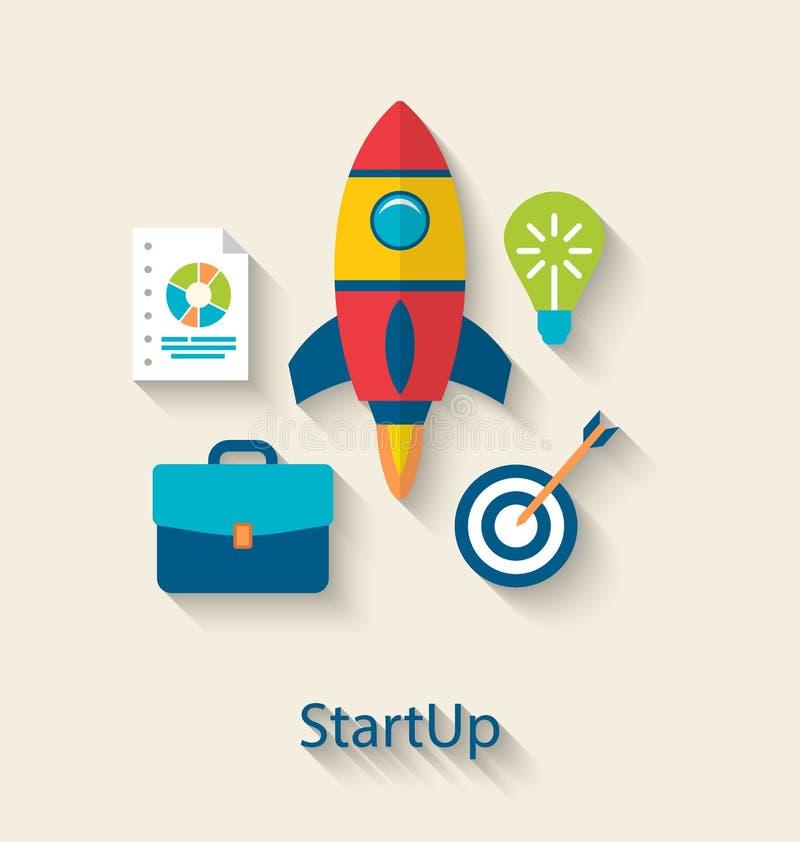Concepto de nuevo desarrollo del inicio del proyecto del negocio ilustración del vector